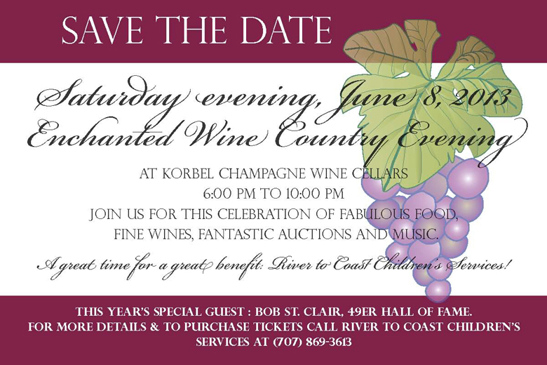 Enchanted Wine Country Evening save the date information