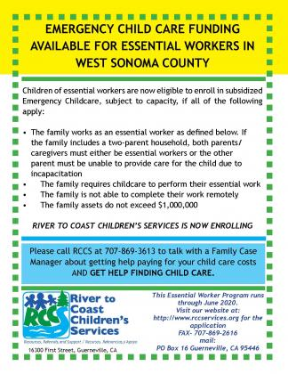 emergency child care available for essential workers flyer
