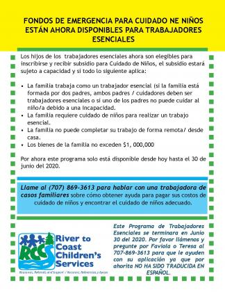 emergency child care for essential workers Spanish flyer