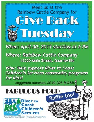 Give Back Tuesday April 30 2019 flyer