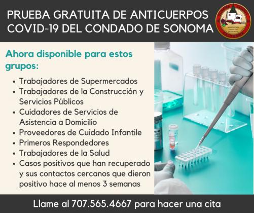 COVID19 testing sites Spanish information