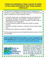 emergency child care for essential workers flyer