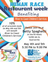 fllier for restaurant  week at Betty Spaghetti